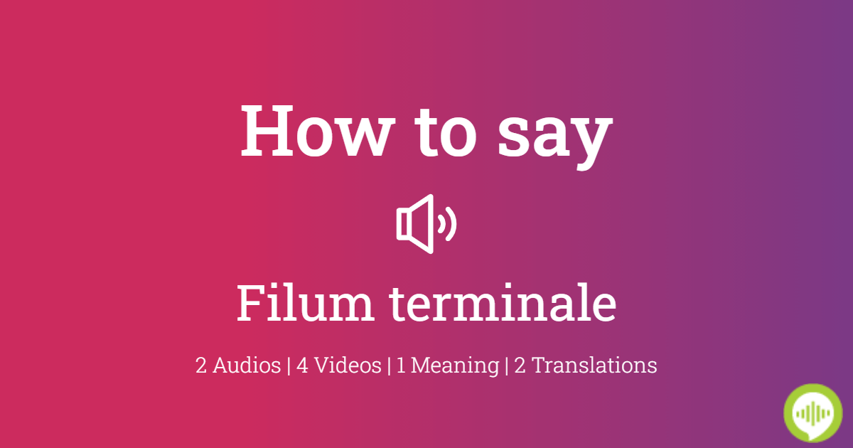 How To Pronounce Filum Terminale Howtopronounce Com Post the definition of filum terminale to facebook share the definition of filum terminale on twitter. how to pronounce filum terminale