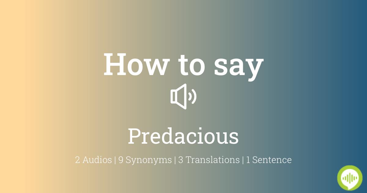 How To Pronounce Predacious Howtopronounce Com